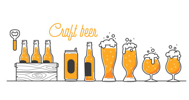 Beer glass, bottle and can types. Craft beer calligraphy design and minimal flat vector illustration of different type of beers. Six pack in a wood box. Oktoberfest equipment. Restaurant illustration Beer glass, bottle and can types. Craft beer calligraphy design and minimal flat vector illustration of different type of beers. Six pack in a wood box. Oktoberfest equipment. Restaurant illustration beer stock illustrations