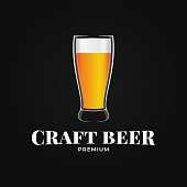 Beer glass design. Craft beer on black background 10 eps