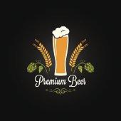 beer glass hops barley design menu background 8 eps