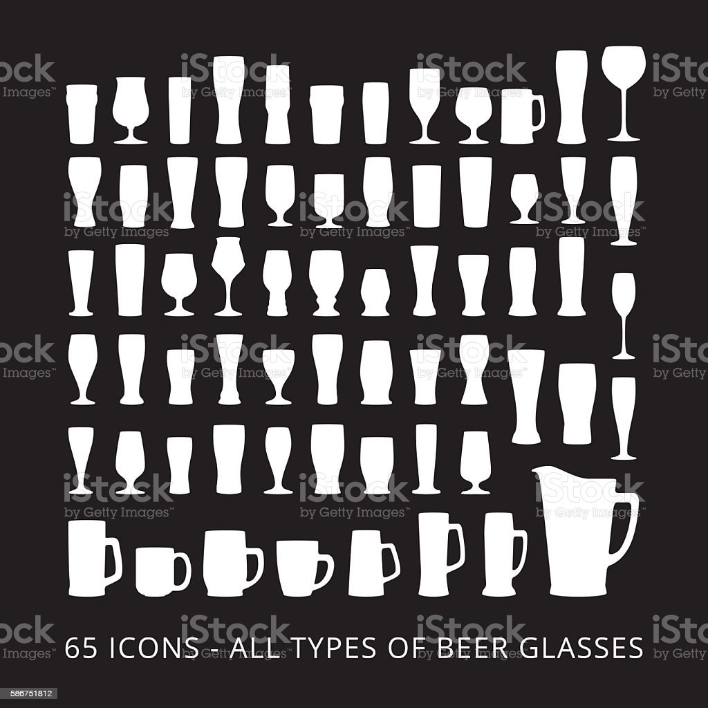 65 beer glass icons set all types of beer glasses アイコンの