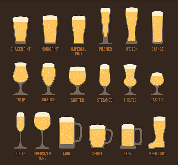 Beer Glass Icons vector art illustration