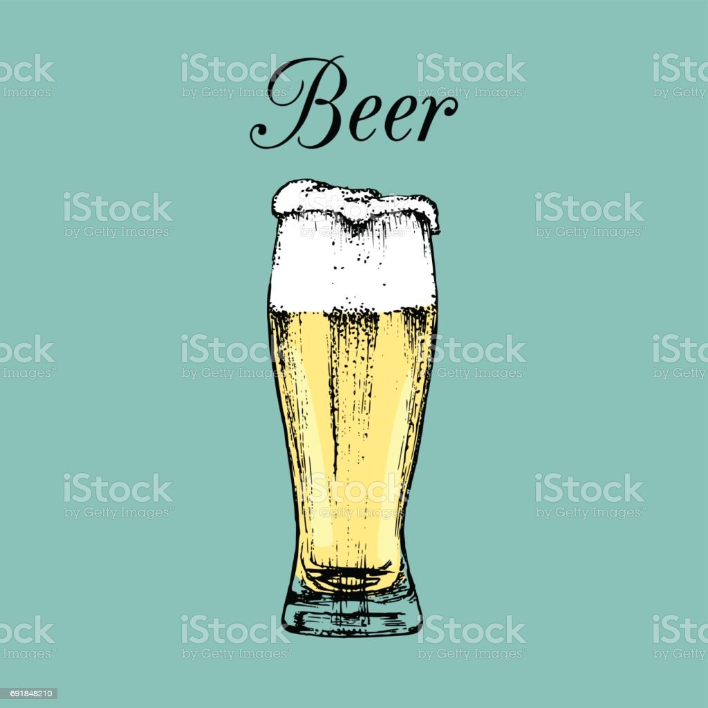 Beer glass isolated. Vector illustration of alcoholic drink. Hand drawn sketch of ale goblet with foam. Bar menu design. vector art illustration