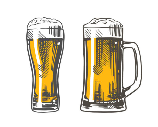 beer glass mug color Mug and glass of beer isolated on white background. Color hand-drawing. Vector vintage engraved illustration. beer glass stock illustrations