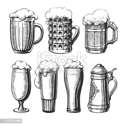 Beer glass mug sketch. Ink hand drawn beer engraving sketches isolated on white for restaurant drink menu or alcohol vintage graphics, vector illustration
