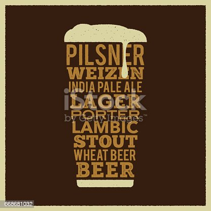 A beer pint creates using type.