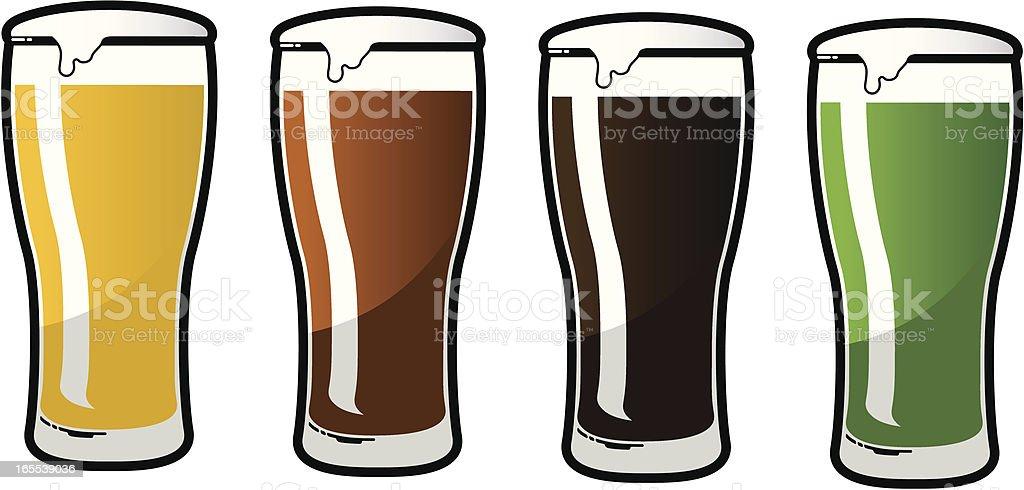 beer glass set vector art illustration