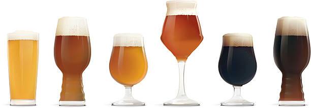 Beer glass | Types of Beer - ilustração de arte em vetor