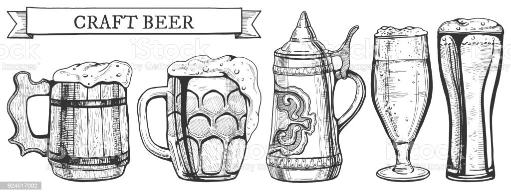 beer glass types vector art illustration