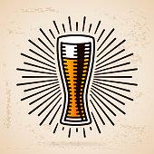 Beer glass symbol illustration.