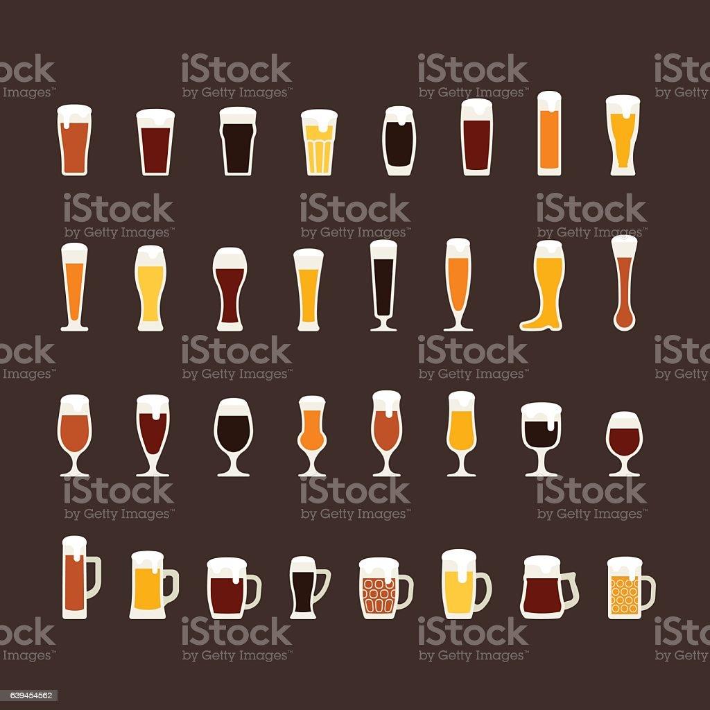 Beer glasses and mugs flat icon set, variety of beers – Vektorgrafik
