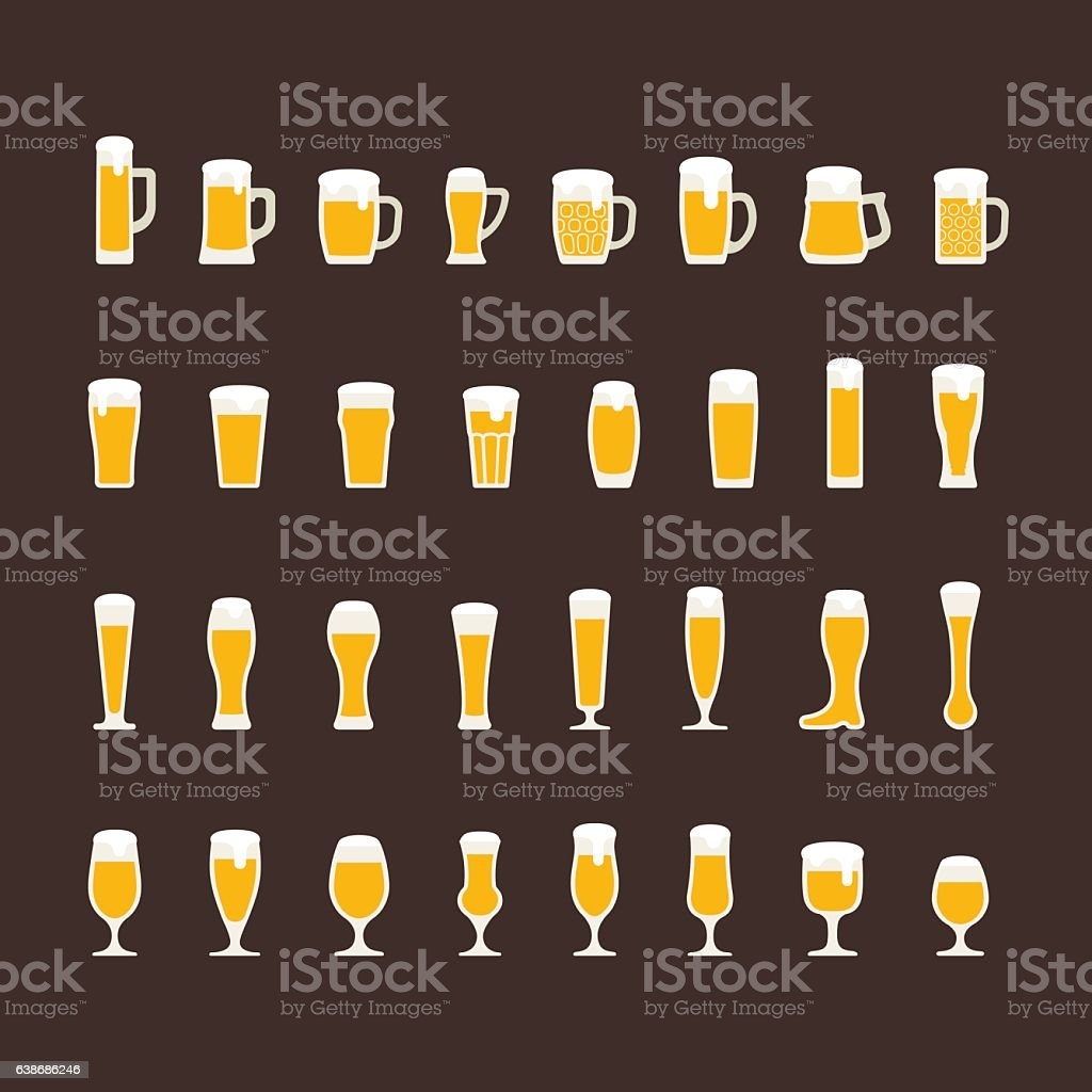 Beer glasses and mugs flat icon set vector art illustration