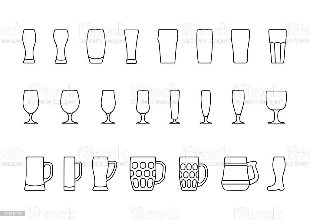 Beer glasses and mugs minimal line icon vector art illustration