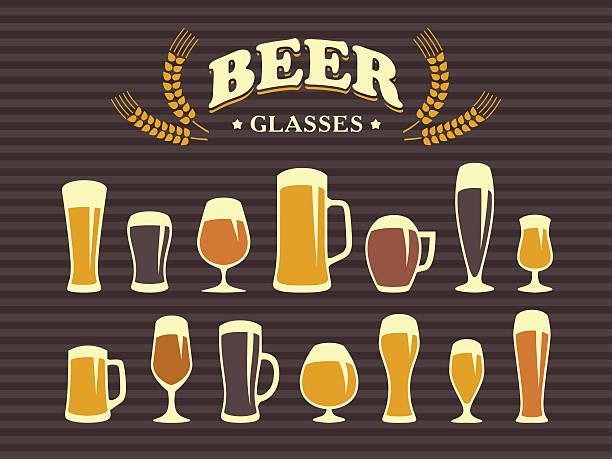 Cerveja em copos e canecas - ilustração de arte em vetor