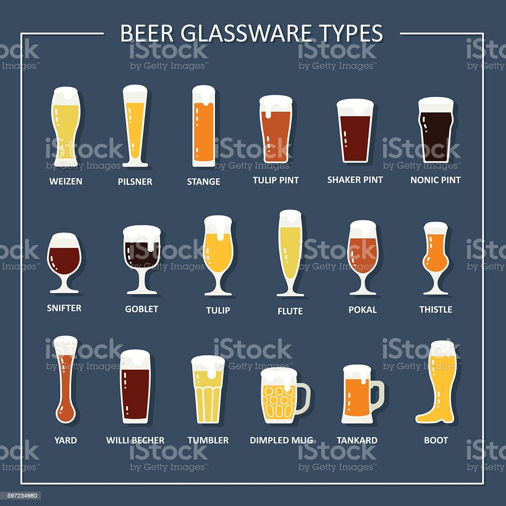 Beer glasses and mugs with names. Vector illustration vector art illustration