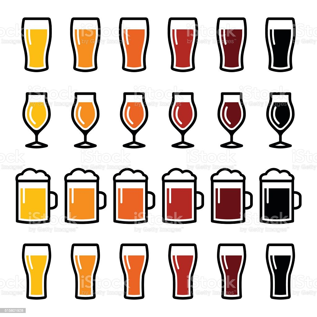 beer glasses different types icons stock vector art amp more
