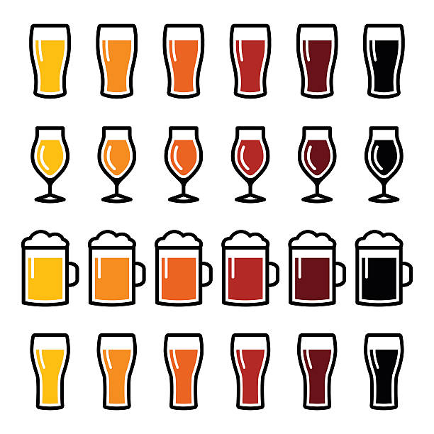 Beer glasses different types icons Drinking beer, pub icons set isolated on white beer glass stock illustrations