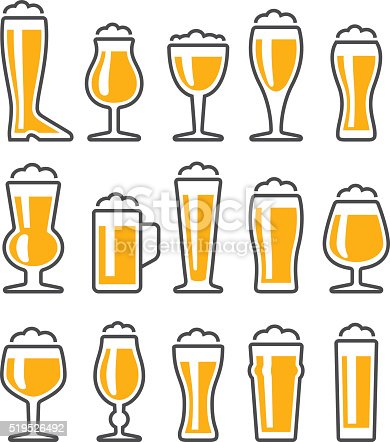 Set of beer glasses icons, a collection of 15 kinds of drinking glasses