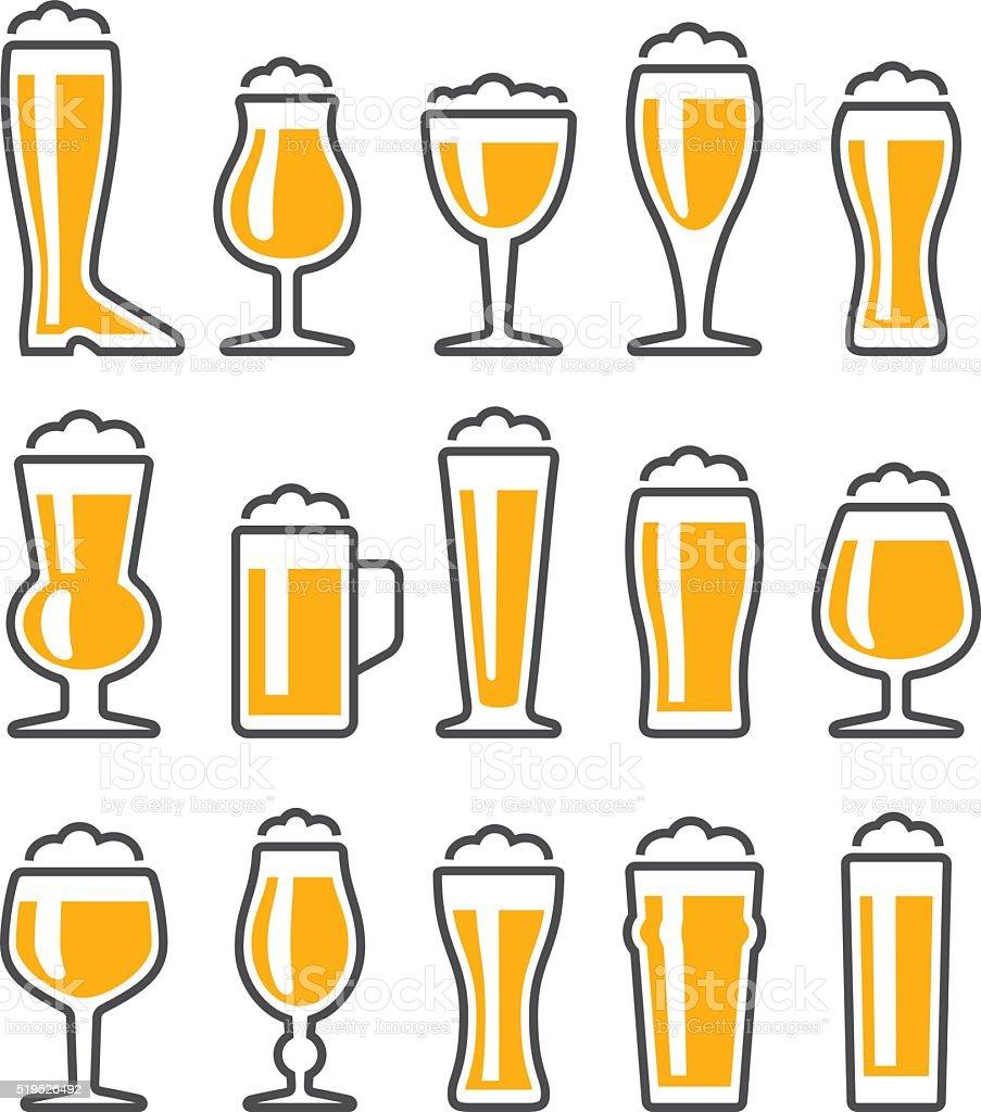 Occhiali gruppo di icone di birra - illustrazione arte vettoriale