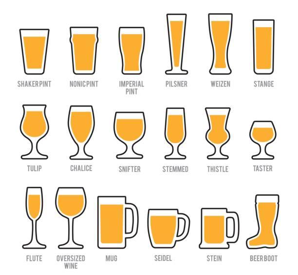 Beer Glasses Icon Set Beer Glasses Icon Set beer glass stock illustrations