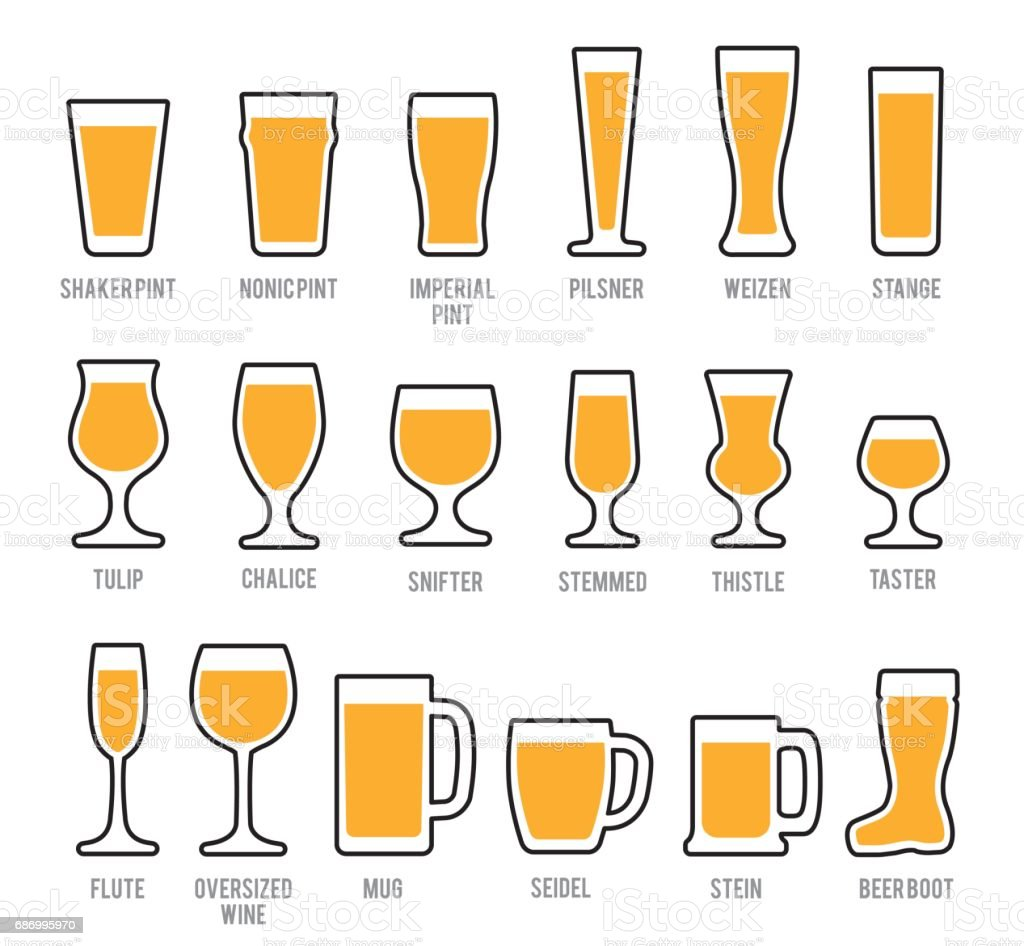 Beer Glasses Icon Set - illustrazione arte vettoriale