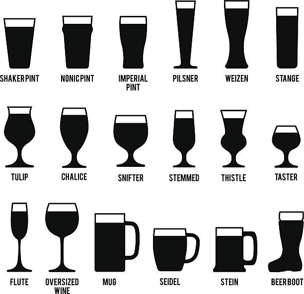 Beer Glasses Icons Set vector art illustration