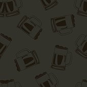 Beer glasses seamless pattern on deep gray background