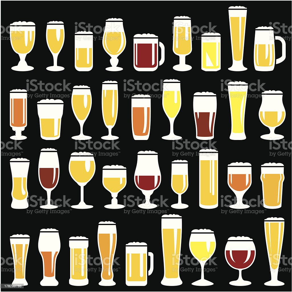 Beer glasses set royalty-free stock vector art