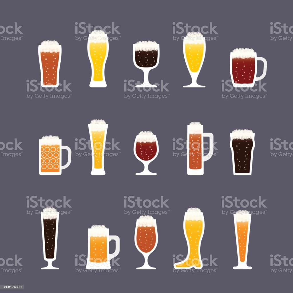 Beer glasses with foam and bubbles, various colors. Icon set in flat style. Vector vector art illustration