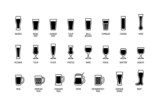 Beer glasses with titles, black and white icons. Vector