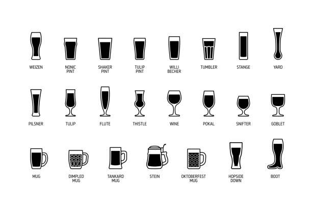 Beer glasses with titles, black and white icons. Vector Beer glasses with titles, black and white icons. Vector illustration beer glass stock illustrations
