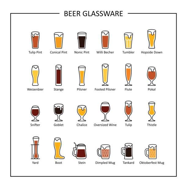 Guia de produtos vidreiros de cerveja, coloridas ícones sobre fundo branco. Vector - ilustração de arte em vetor