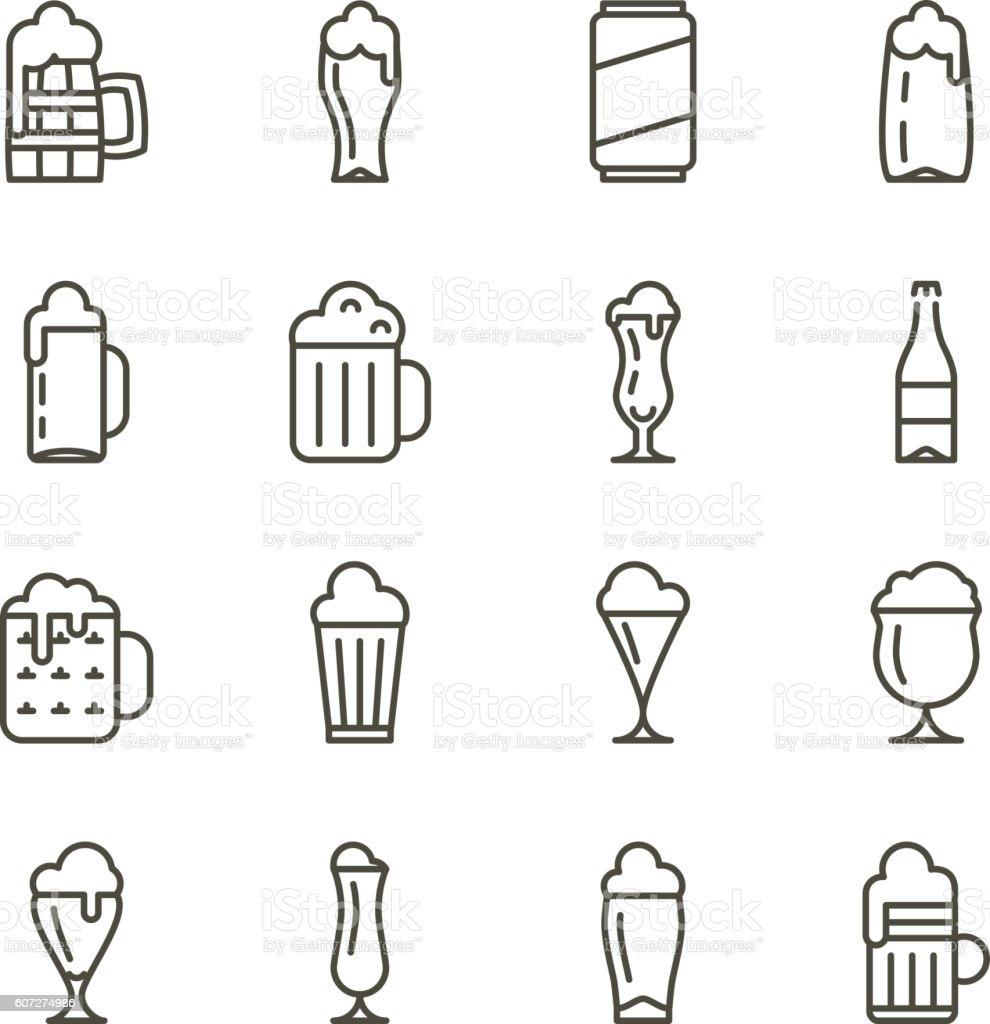 Beer glassware thin line icons vector art illustration