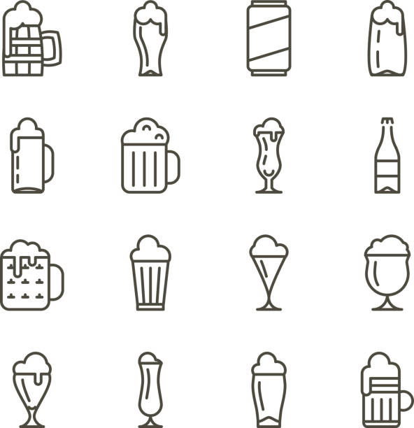 Beer glassware thin line icons vector art illustration