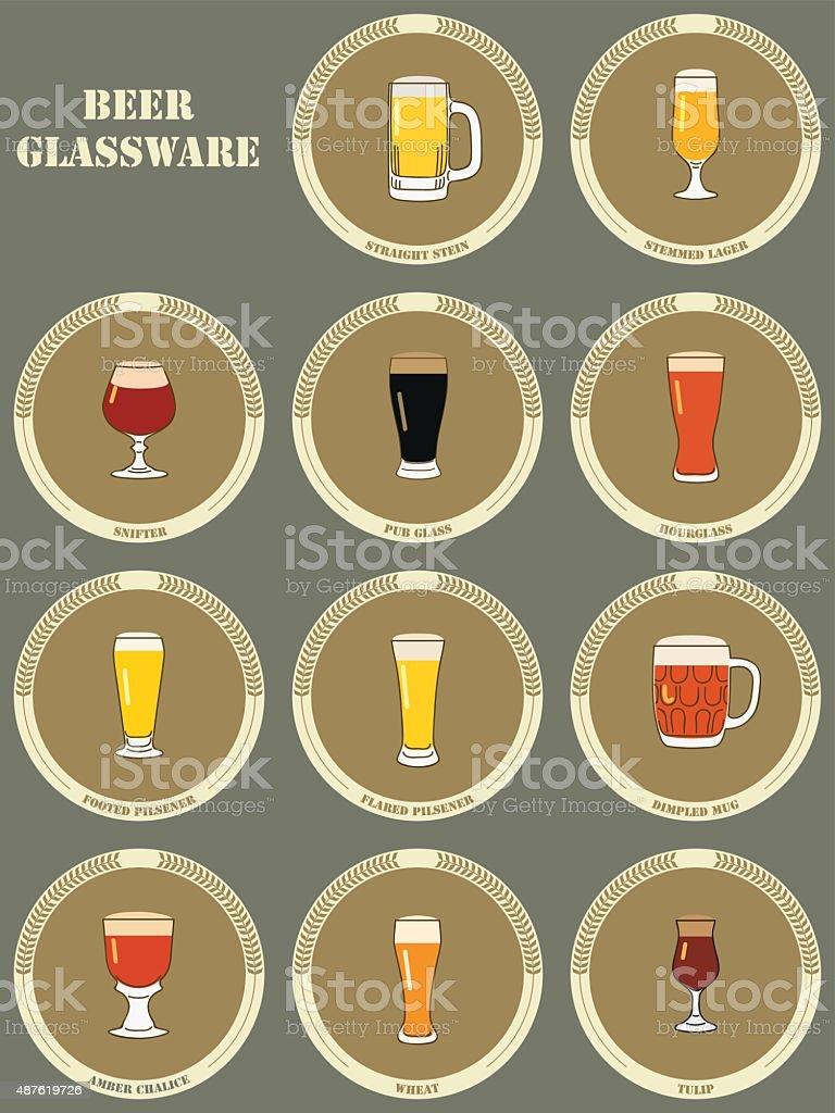 Beer Glassware vector art illustration