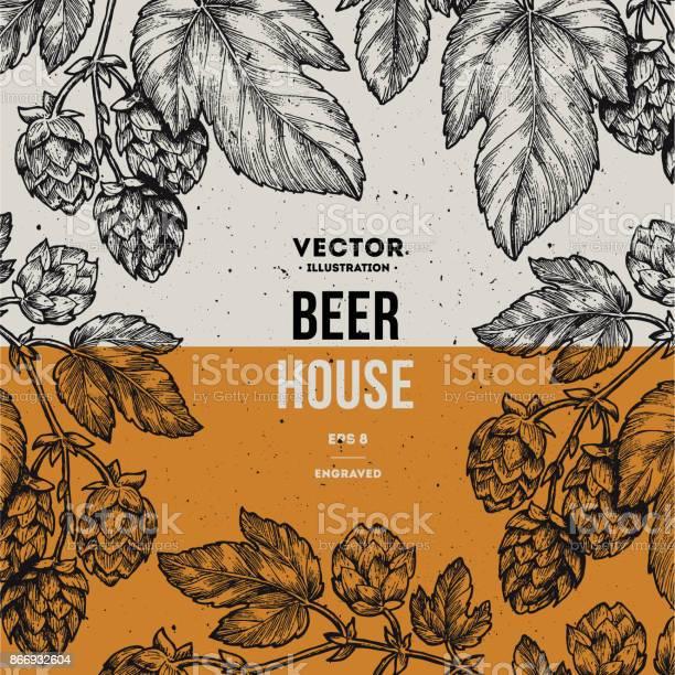 Bira Hop Çerçeve Oyulmuş Stil Illüstrasyon Vintage Bira Tasarım Şablonu Vektör Çizim Stok Vektör Sanatı & Acı ale'nin Daha Fazla Görseli