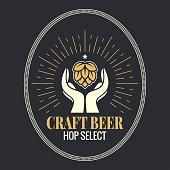 istock beer hop in hands vintage logo on black background 970428556