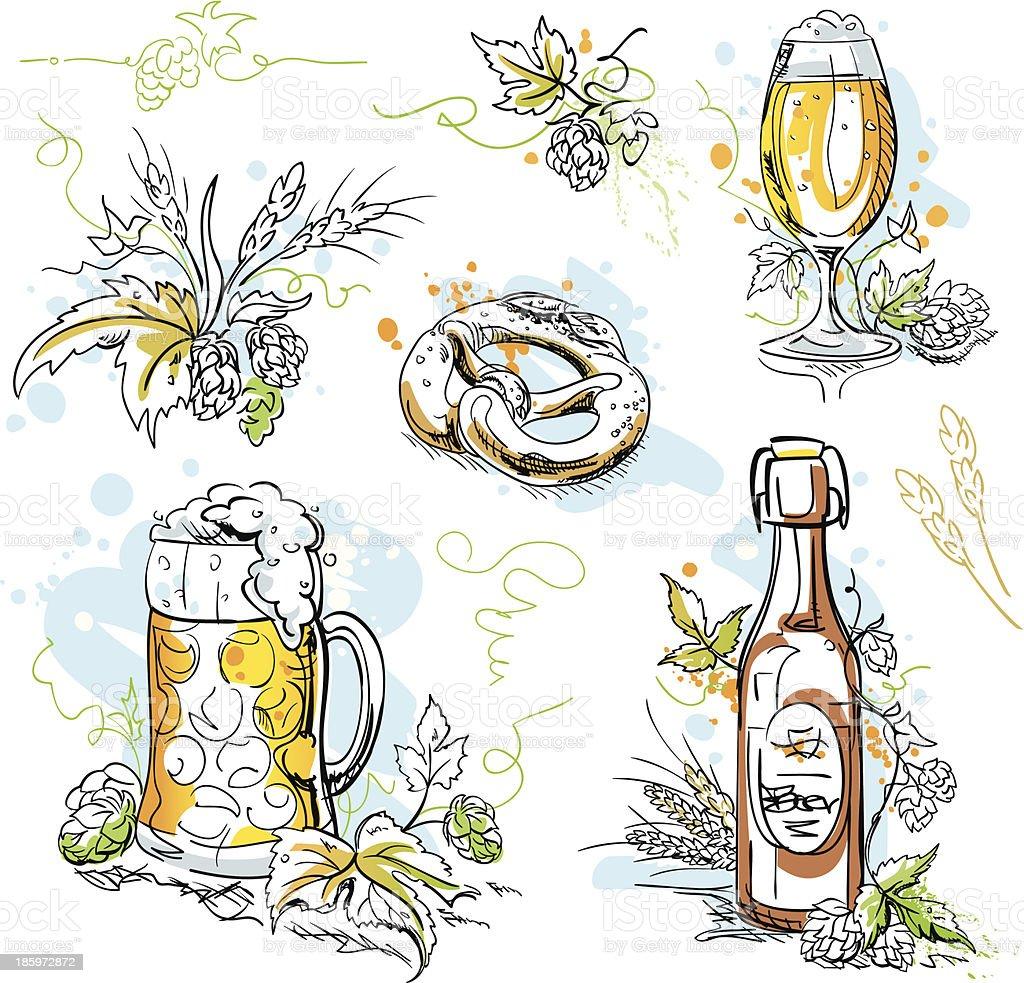 Beer Hop Pretzel Ink Drawings royalty-free stock vector art