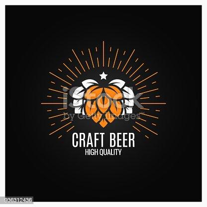 beer hops  on black background