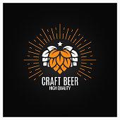 beer hops  on black background 8 eps