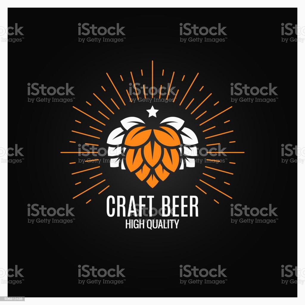 houblon bière sur fond noir - Illustration vectorielle