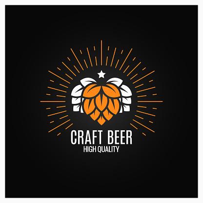 Houblon Bière Sur Fond Noir Vecteurs libres de droits et plus d'images vectorielles de Agriculture