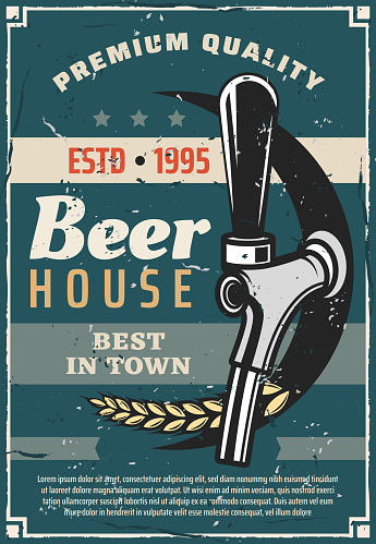 Beer house or craft brewery tradition retro poster