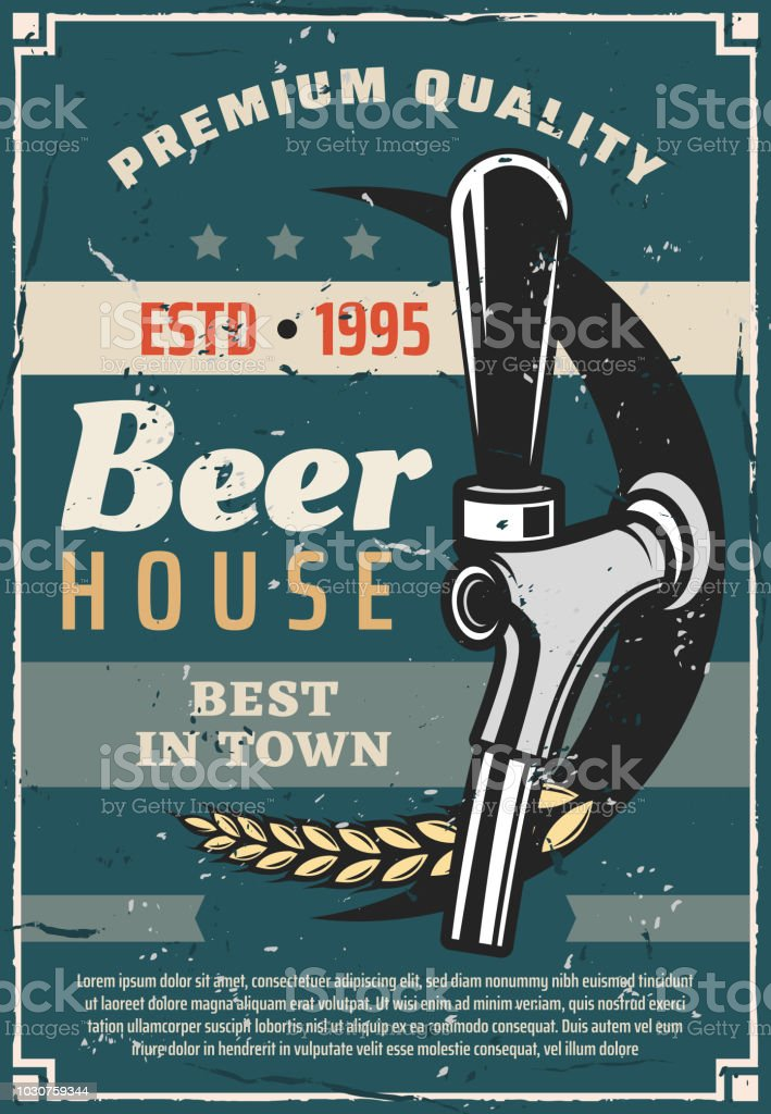 Beer house or craft brewery tradition retro poster vector art illustration