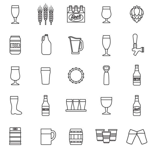 Beer Icon Set A set of icons. File is built in the CMYK color space for optimal printing. Color swatches are global so it's easy to edit and change the colors. beer alcohol stock illustrations