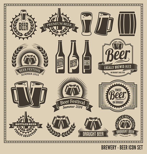 stockillustraties, clipart, cartoons en iconen met beer icon vector design set - bierfles