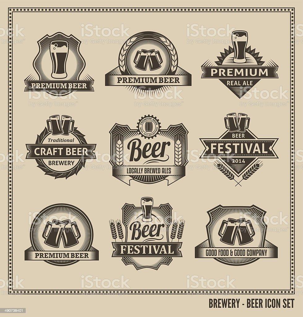 Bier-Symbol Vektor-Design-Set – Vektorgrafik