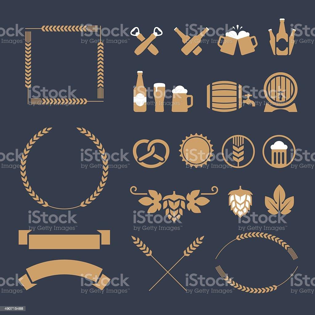 Icone di birra e indicazioni - illustrazione arte vettoriale
