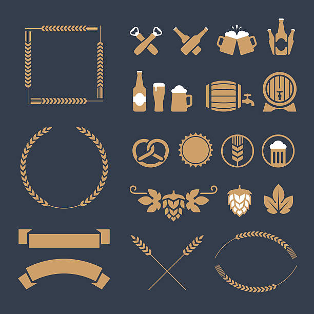 Beer icons and signs vector art illustration
