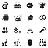 Beer Icons. Black Flat Design. Vector Illustration.