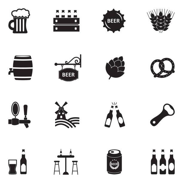 Bier-Symbole. Schwarze flache Bauweise. Vektor-Illustration. – Vektorgrafik